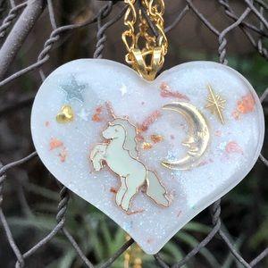 Unicorn moon necklace pastel gold magic handmade